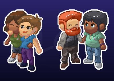 Pixel art des personnages